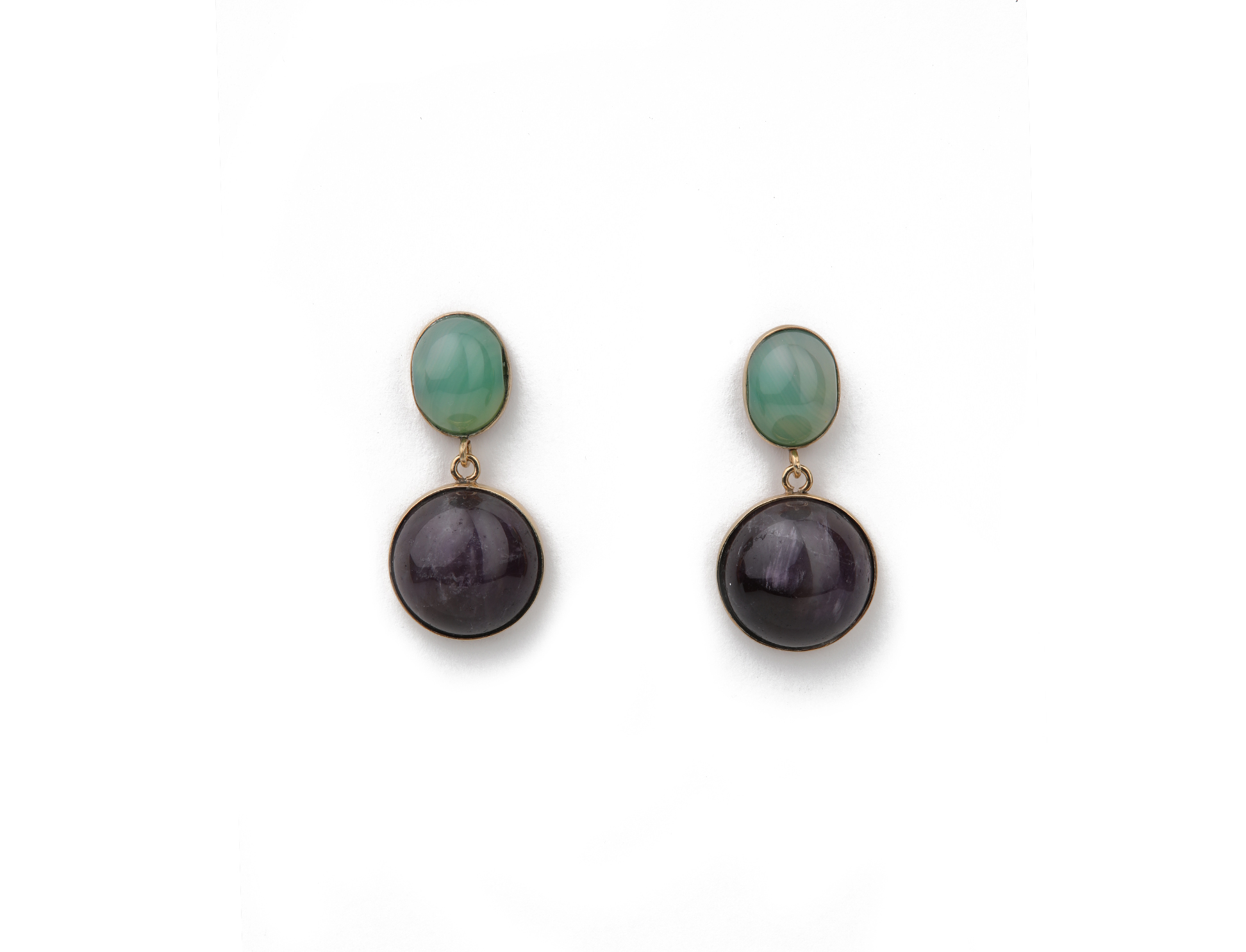 Silver earrings with amethyst and green quartz