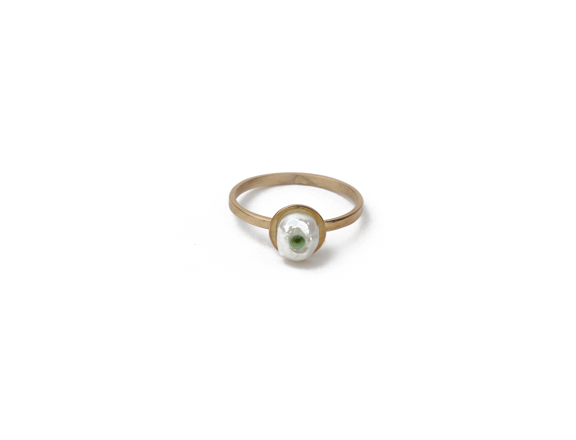 Gold-plated silver Ring with Pearl and green Zircon