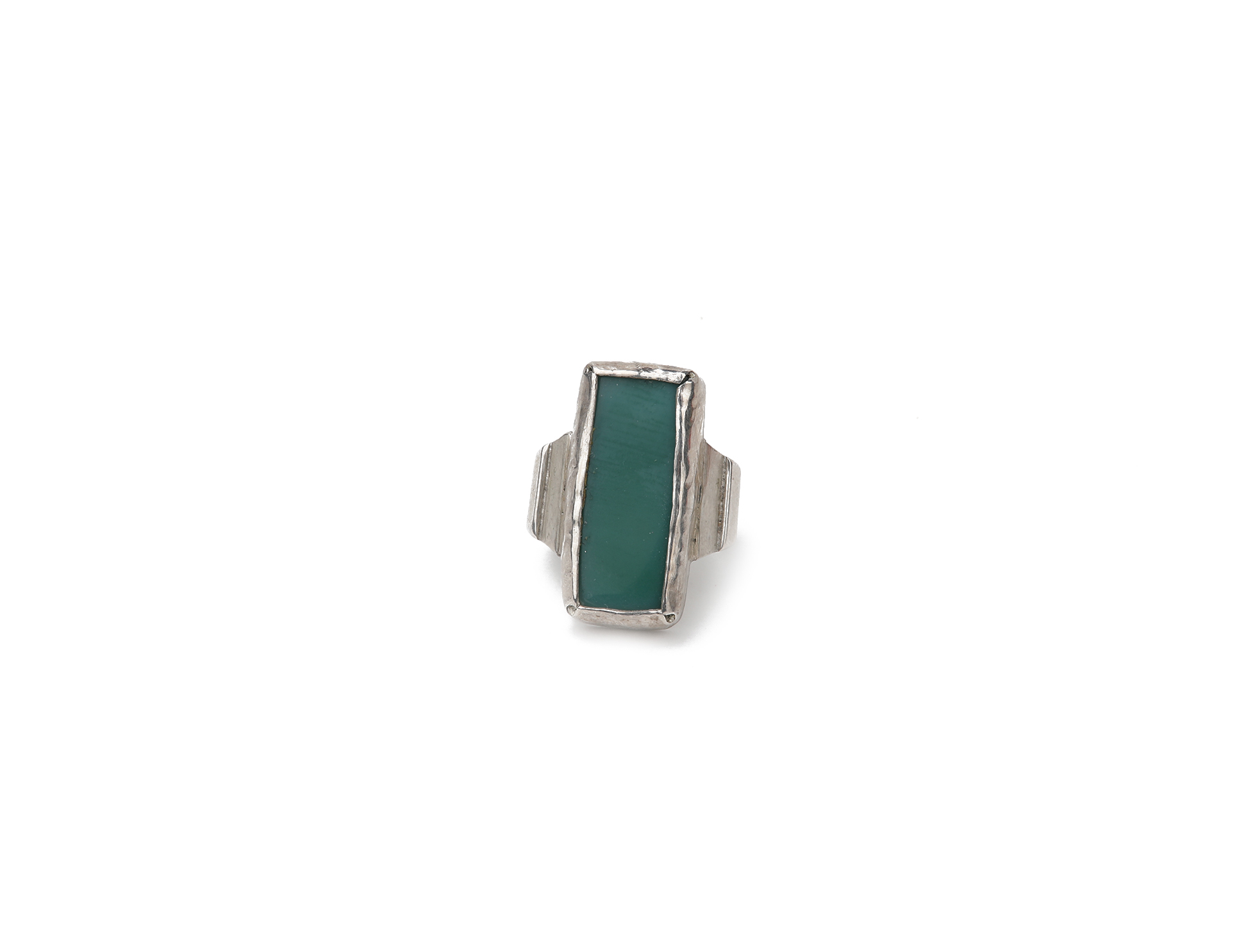 Silver Ring with Green Agate