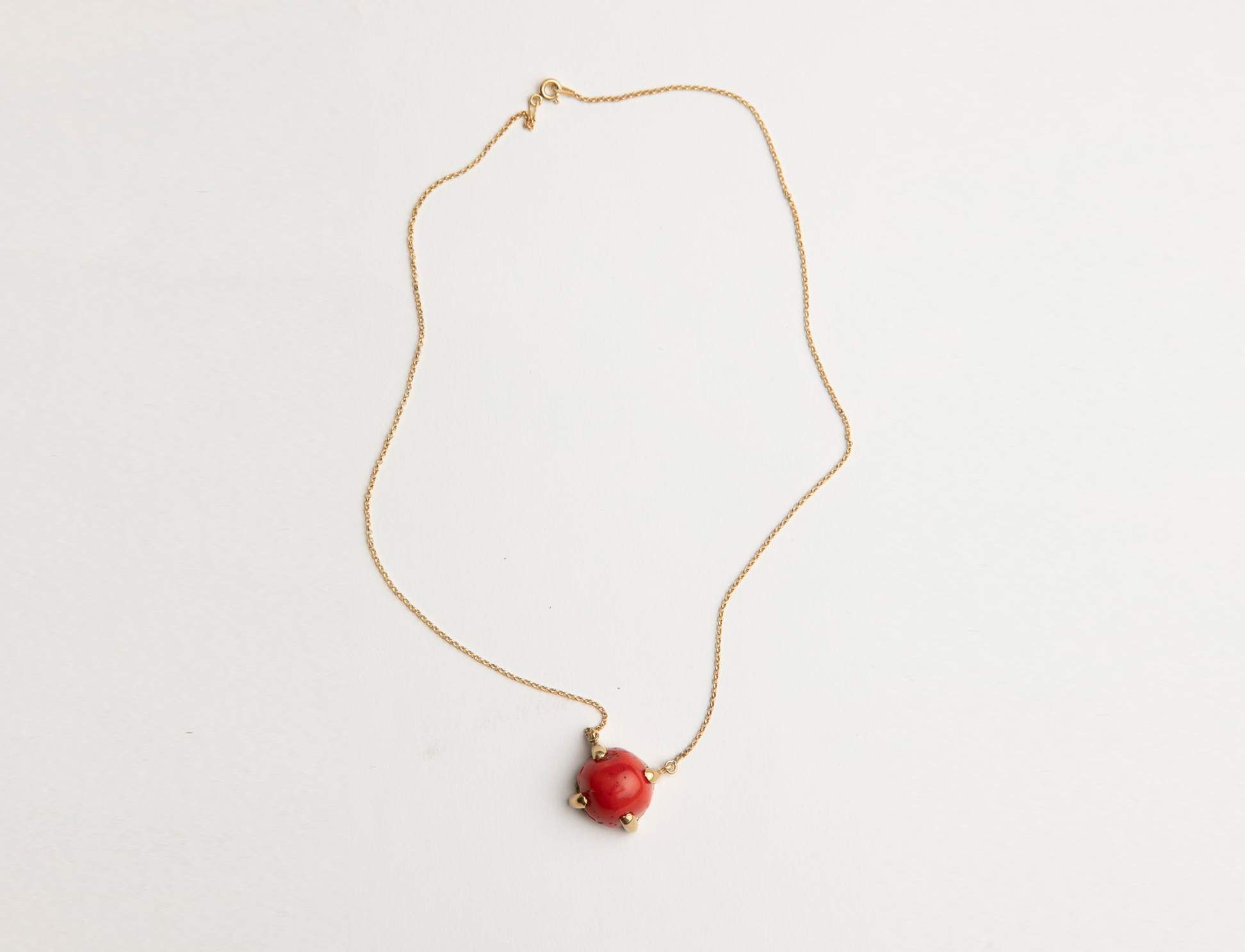Gold Plated Coral Pendant